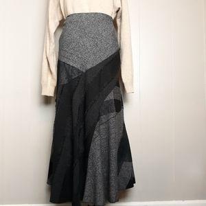 Bohemian fringed patchwork flounce maxi skirt